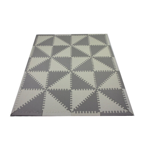 OCAM Kids Foam Play Mat Triangle Pattern White and Grey for Indoor and Outdoor Play Boys Girls