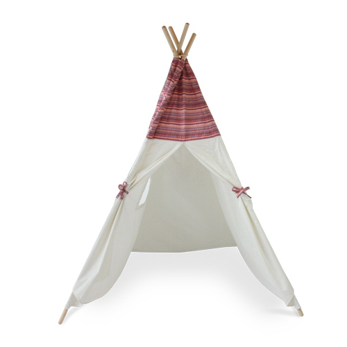 Kids Large Canvas Cotton Play Tent Teepee in Native American Aztec Boho Print timber post Tee Pee Tipi Indoor
