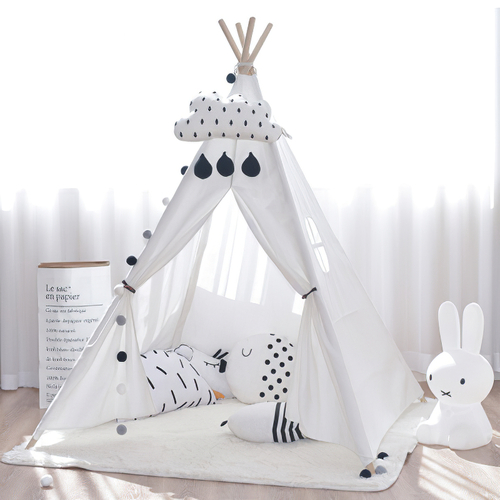 Kids Large White Cotton Canvas Play Tent Teepee Indoor Tipi Tee Pee