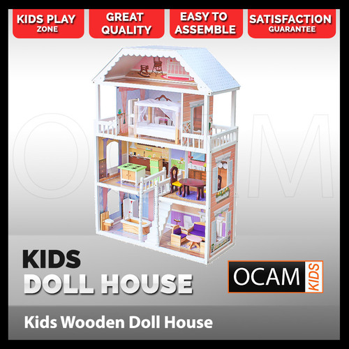 Ocam Kids White Georgia Style Mansion Wooden Doll House 4 levels with 14 piece furniture set Indoor Play