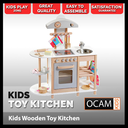 Kids Kitchen Scandi Wooden Toy Cooking and Sink Station Set and Pots