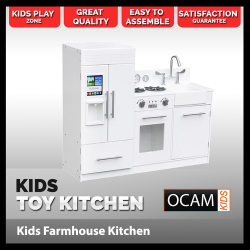 Kids Kitchen Modern Wooden Play Set in White and Silver